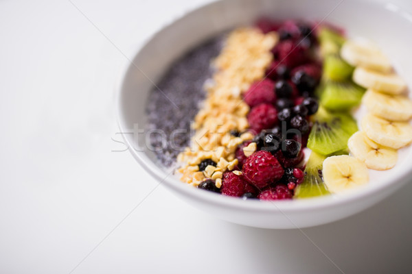 bowl of yogurt with fruits and seeds Stock photo © dolgachov