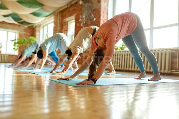 group of people doing yoga dog pose at studio Stock photo © dolgachov