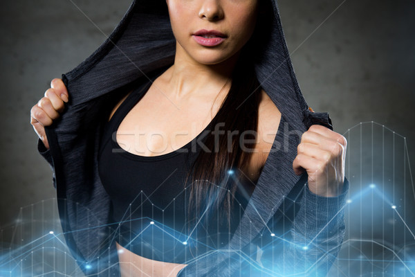 close up of woman posing and showing sportswear Stock photo © dolgachov