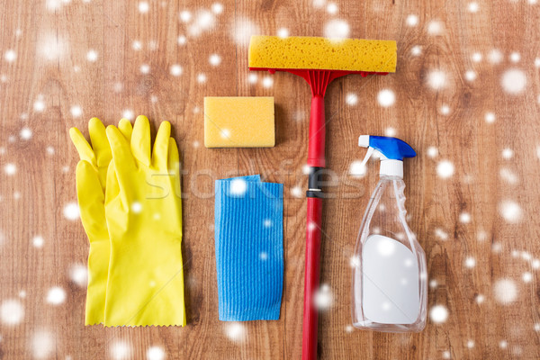 squeegee with window cleaning stuff on wood Stock photo © dolgachov