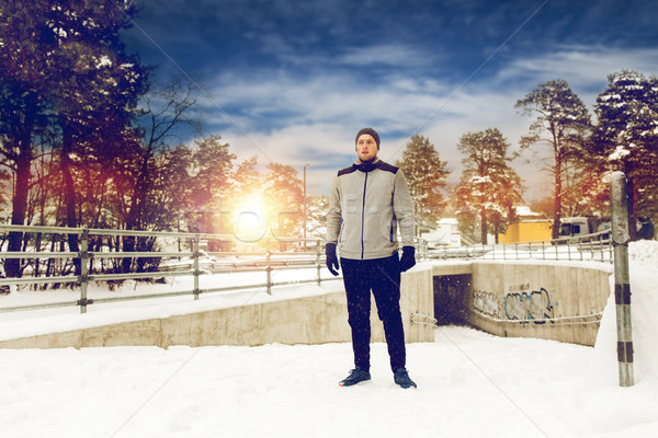 sports man in winter outdoors Stock photo © dolgachov