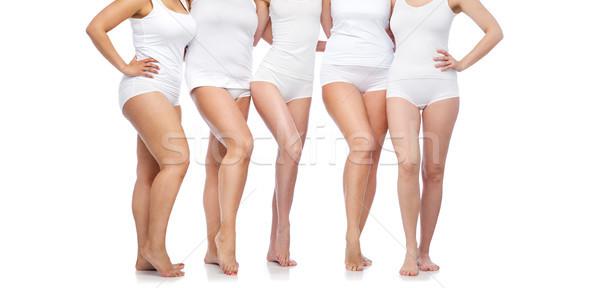 Grupy szczęśliwy różnorodny kobiet biały bielizna Zdjęcia stock © dolgachov