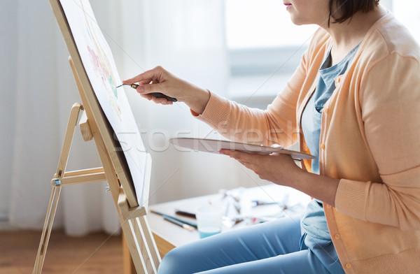 artist with palette knife painting at art studio Stock photo © dolgachov