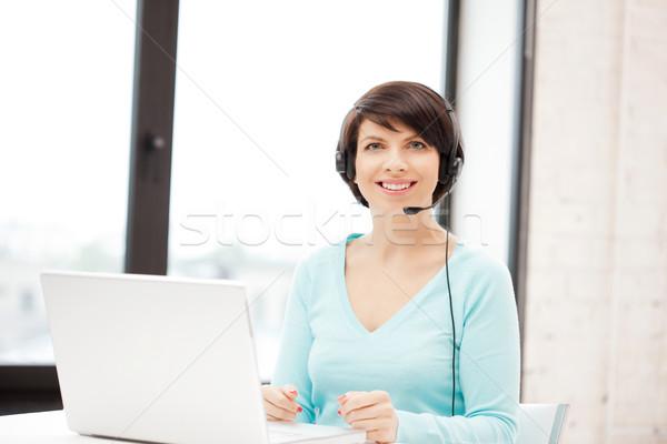 Photo stock: Opérateur · ordinateur · portable · photos · affaires · femme