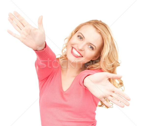 Stok fotoğraf: Mutlu · kadın · parlak · resim · avuç · içi