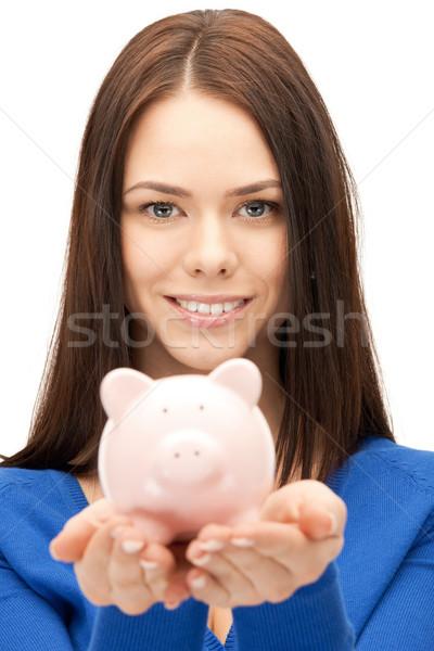 Nő persely kép üzlet pénzügy disznó Stock fotó © dolgachov
