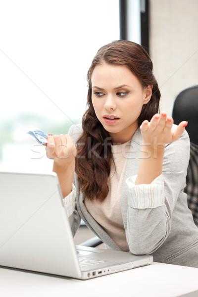 Infeliz mujer ordenador portátil euros efectivo dinero Foto stock © dolgachov