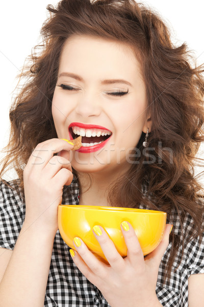 lovely housewife with cup Stock photo © dolgachov