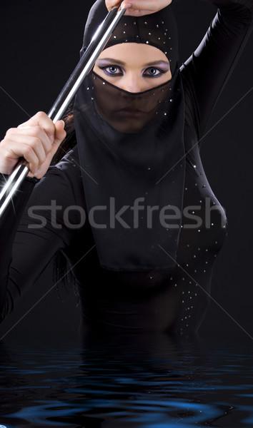 Ninja foto vrouw paal portret Stockfoto © dolgachov