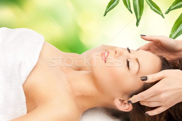beautiful woman in massage salon Stock photo © dolgachov
