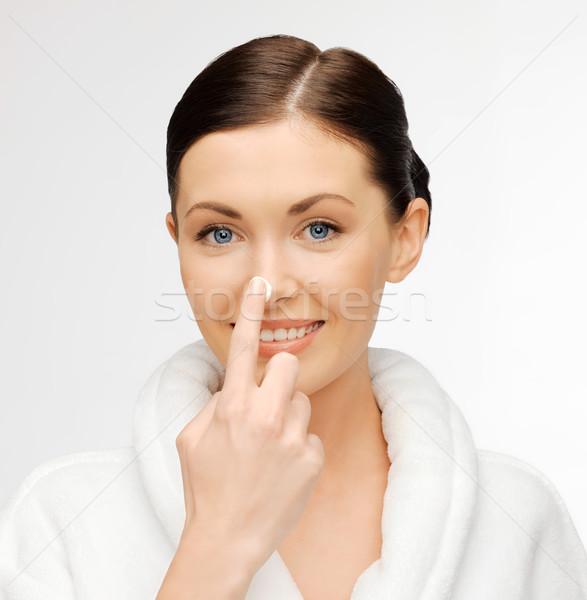 Vrouw badjas foto mooie vrouw gezicht Stockfoto © dolgachov