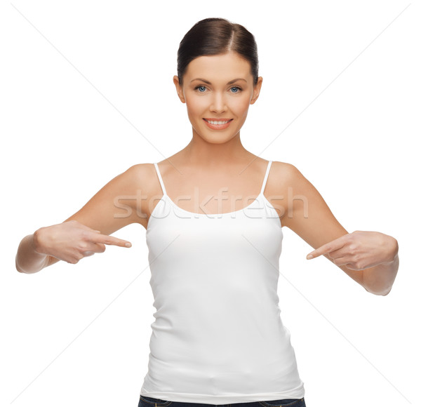 woman in blank white t-shirt Stock photo © dolgachov
