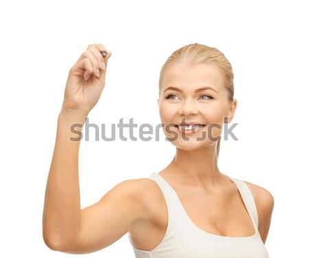 Nő fehér póló ír levegő mosolygó nő Stock fotó © dolgachov