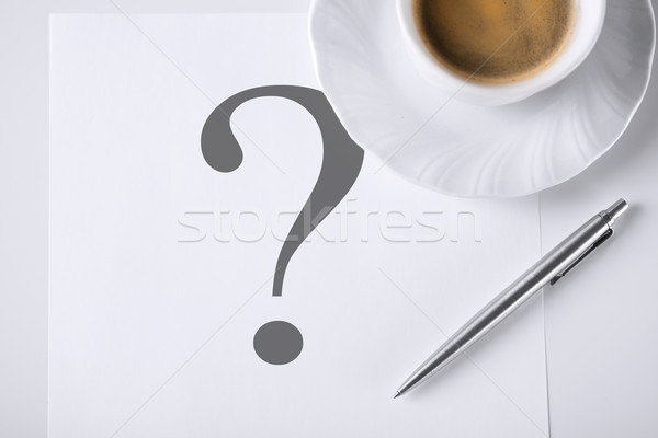 note with question mark and coffee Stock photo © dolgachov