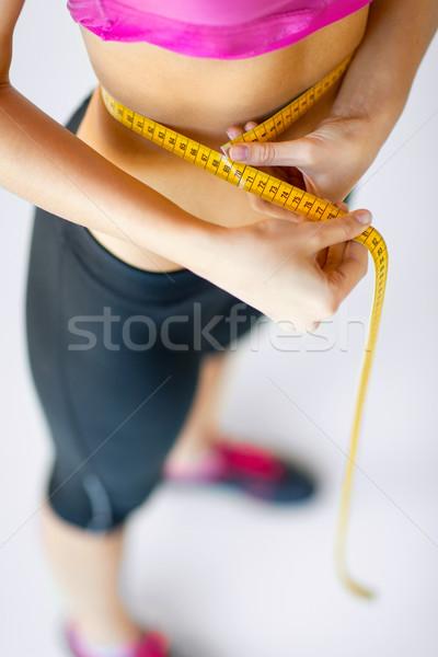 Képzett has mérőszalag sport diéta nő Stock fotó © dolgachov