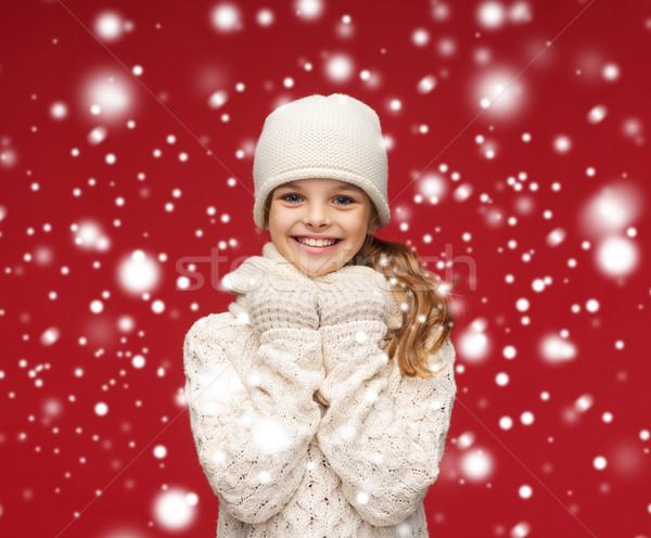 笑みを浮かべて 少女 白 帽子 マフラー 手袋 ストックフォト © dolgachov