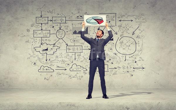 Sorridere imprenditore diagramma business istruzione Foto d'archivio © dolgachov