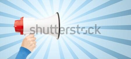businessman in suit speaking to megaphone Stock photo © dolgachov