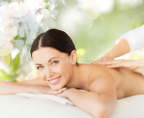 Foto stock: Feliz · bela · mulher · de · volta · massagem · pessoas