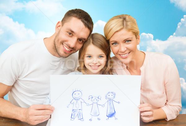 Glückliche Familie Zeichnung Bild Menschen Glück Verabschiedung Stock foto © dolgachov