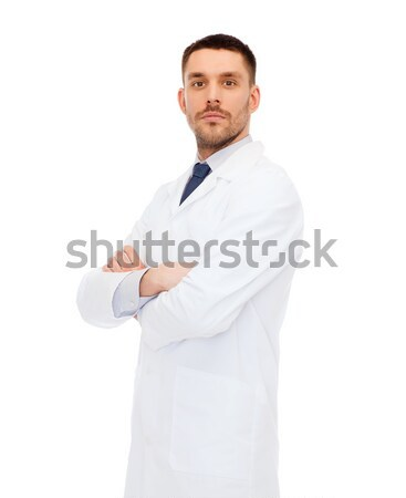 doctor with prostate cancer awareness ribbon Stock photo © dolgachov