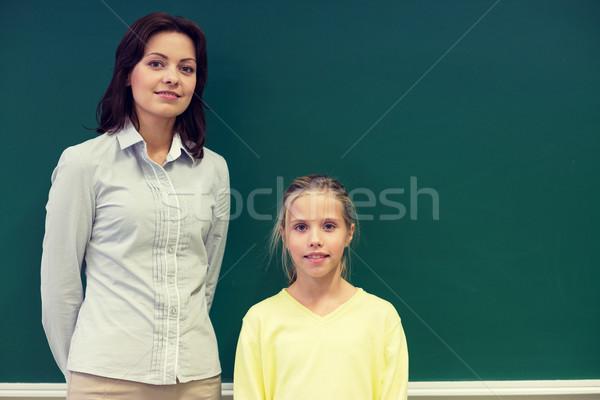 Weinig schoolmeisje leraar Blackboard onderwijs Stockfoto © dolgachov