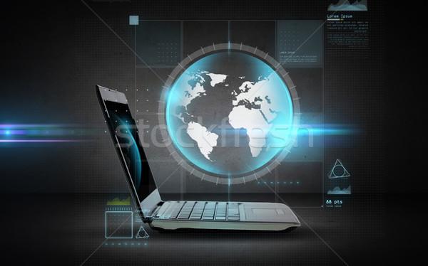 オープン ラップトップコンピュータ 世界中 投影 技術 ビジネス ストックフォト © dolgachov