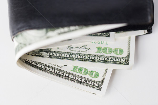 close up of usa dollar money in wallet on table Stock photo © dolgachov
