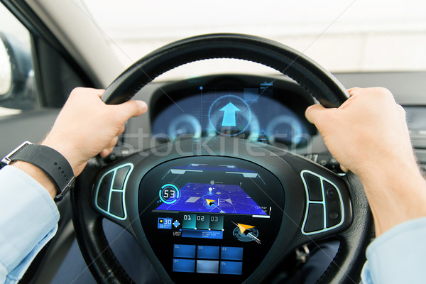 close up of man driving car with gps navigator Stock photo © dolgachov