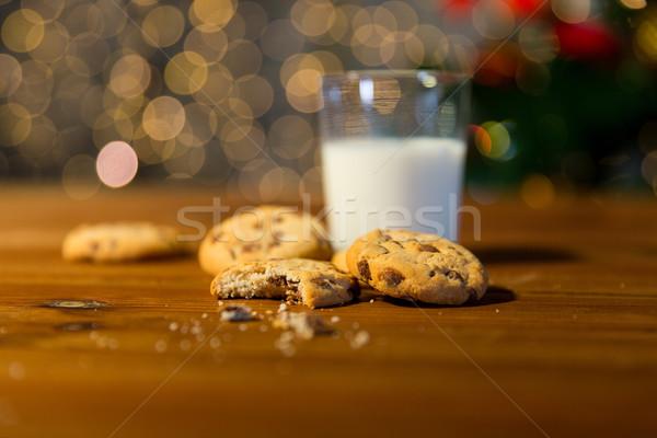 Stock fotó: Közelkép · sütik · tej · karácsony · fények · ünnepek
