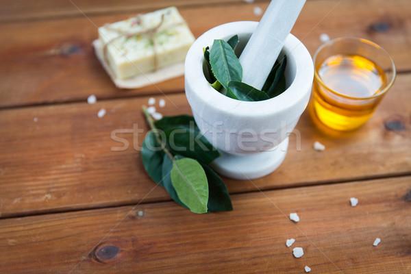 Bladeren hout lichaam zorg Stockfoto © dolgachov