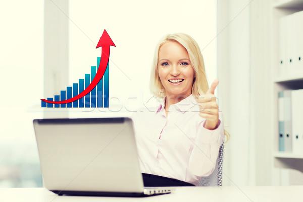 Glücklich Geschäftsfrau Laptop Business Stock foto © dolgachov