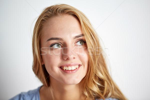 Feliz mulher jovem cara pessoas retrato cara da mulher Foto stock © dolgachov