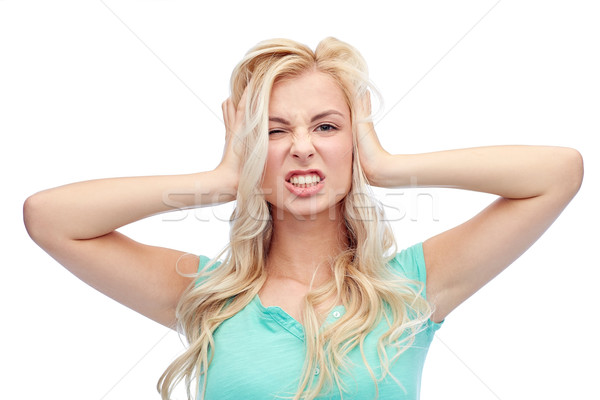 Genç kadın kafa çığlık atan duygular ifadeler Stok fotoğraf © dolgachov