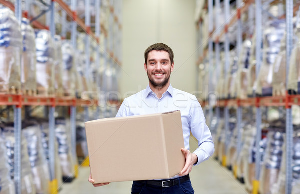 happy man with cardboard parcel box at warehouse Stock photo © dolgachov