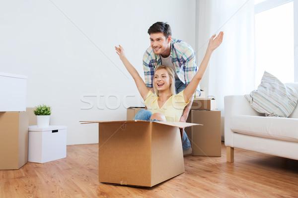 Stock fotó: Boldog · pár · szórakozás · dobozok · új · otthon · otthon
