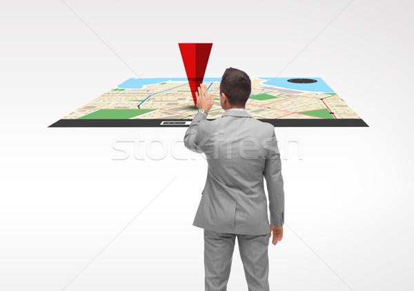 Işadamı projeksiyon harita iş adamları navigasyon teknoloji Stok fotoğraf © dolgachov