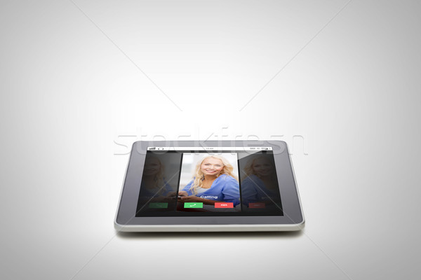 close up of tablet pc computer with incoming call Stock photo © dolgachov