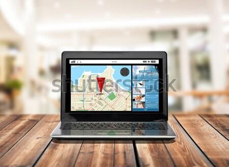 Ordinateur portable GPS carte écran technologie navigation Photo stock © dolgachov