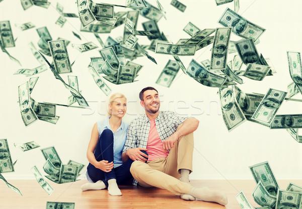 Stok fotoğraf: Mutlu · çift · ev · dolar · para · düşen