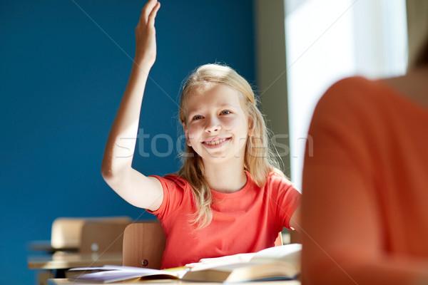 Heureux étudiant fille main école leçon Photo stock © dolgachov