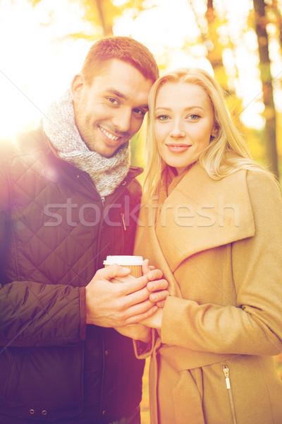 romantic couple in the autumn park Stock photo © dolgachov