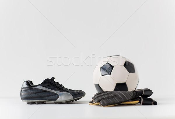 вратарь перчатки мяча Футбол сапогах Сток-фото © dolgachov