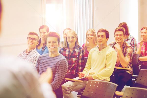 Stockfoto: Groep · studenten · leraar · notebook · onderwijs · middelbare · school