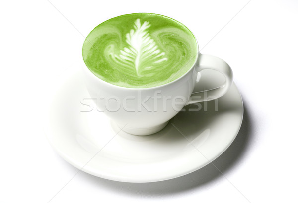 Stock photo: cup of matcha green tea latte over white