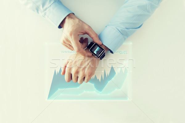 Mão virtual traçar projeção negócio futuro Foto stock © dolgachov