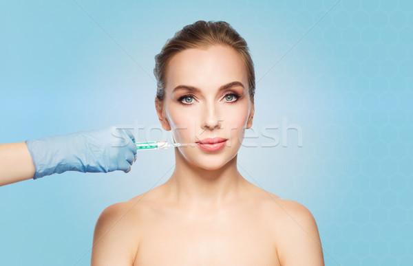 Női arc kéz injekciós tű készít injekció emberek Stock fotó © dolgachov