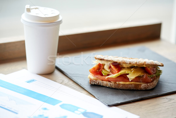Stock photo: salmon panini sandwich and cup of drink at cafe