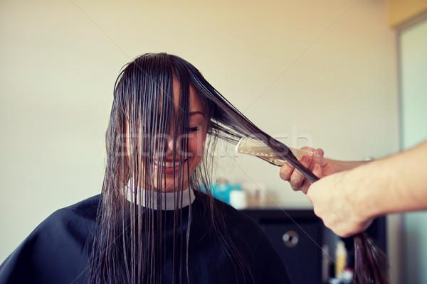 Stockfoto: Gelukkig · vrouw · stilist · kapsalon · schoonheid
