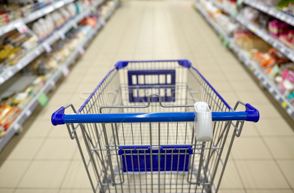 empty shopping cart or trolley at supermarket Stock photo © dolgachov